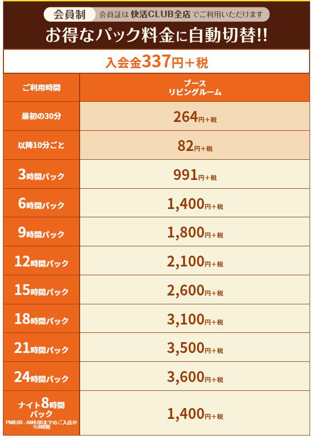個室シャワー コインシャワー シャワー 茨城 石岡  ネットカフェ 快活クラブ 料金表