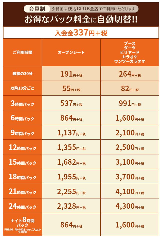 個室シャワー コインシャワー シャワー 茨城 鹿嶋  ネットカフェ 快活クラブ 料金表